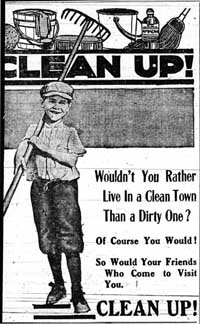 Advertisement in the Skidmore News, May 1916, for a city-wide clean-up day