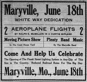 Advertisement from the June 12, 1913 Skidmore New Era for Maryville celebration