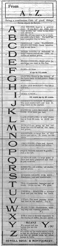 Ad for Skidmore Bros. & Montgomery from July 1899.