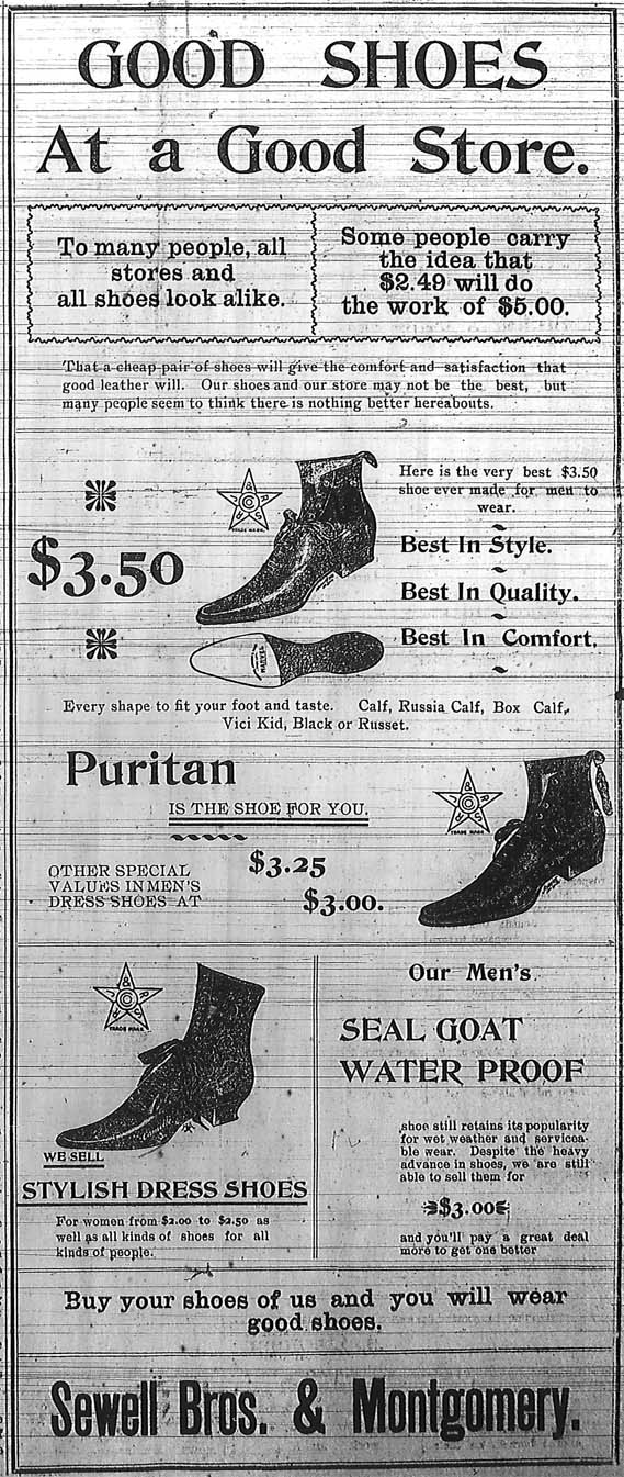 Ad for shoes at Sewell Brothers and Montgomery in Skidmore, Missouri, 1900.