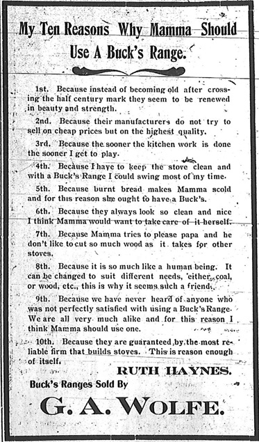 Ten Reasons Why Mamma Should Use a Buck's Range.  Ad from the August 3, 1905 Skidmore Standard.