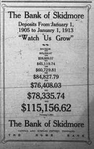 "The Bank of Skidmore Deposits from January 1, 1905 to January 1, 1913, ""Watch Us Grow.""  (Ad lists dollar amounts ranging from $13,720.06 in 1905 to $115,156.62 on January 1, 1913.  The Bank of Skidmore, Capital and Surplus Fifteen Thousand.  The Home Bank."